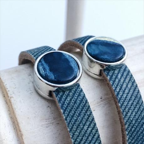 Lederarmband Blue Jeans mit Cabochon