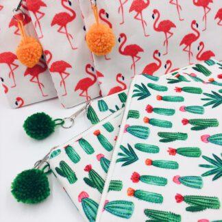 Kosmetiktasche mit Flamingos oder Kaktusmotiv