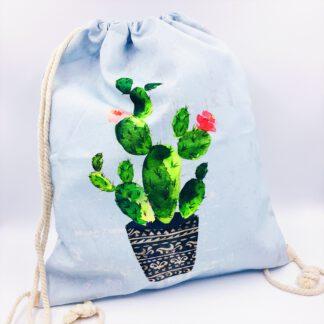 Gymbag hellblau mit Kaktusmotiv