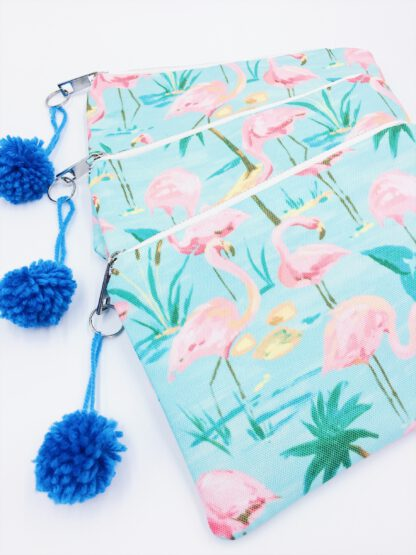 Kosmetiktasche mit Flamingos in türkis/rosa