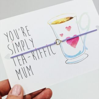 Elastisches Armband mit Herz auf Postkarte - Mum