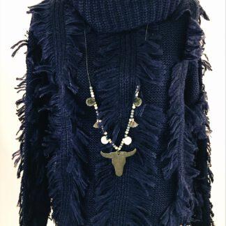 Pullover mit modischen Fransen