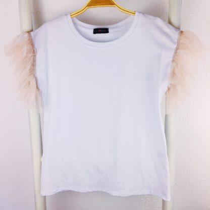 Roma T-Shirt weiß Tüllstreifen Ärmel